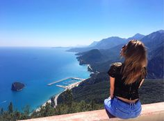 Sea mountains height beauty girl view nature air love