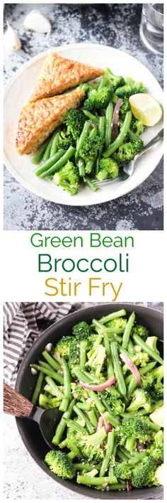 Easy Green Bean Broccoli Stir Fry - An easy vegetable side dish for any night of the week. Just a few ingredients are needed, but it brings lots of flavor and nutrients. Serve it as a side or over pasta or rice. Vegan Dinner Recipes, Vegan Dinners, Lunch Recipes, Vegetarian Recipes, Healthy Recipes, Tofu Recipes, Delicious Recipes, Side Dish Recipes, Vegetable Recipes