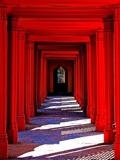 schloss schwetzingen, vibrant red. beautiful