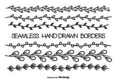 Seamless leaf borders Calligraphy borders Vine drawing Vine border