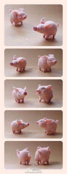*NEEDLE FELTED ART ~ Wool felt pig