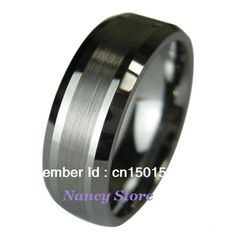 Stainless Steel Brushed and Polished Grooved 6.50mm Band Size 9.5 Length Width 6.5