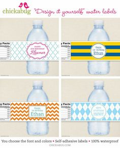 Adorable custom water bottle labels to match any party theme!! http://www.bottleyourbrand.com/water-bottle-labels