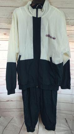 Vintage Adidas Tracksuit Jacket Pants Medium Navy White Purple 80s 90s B4   eBay