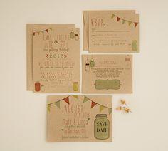 Wedding Invitation Suite DEPOSIT  DIY  Rustic by SplashOfSilver