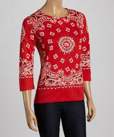 Look what I found on #zulily! Red & White Handkerchief Three-Quarter Sleeve Top - Women #zulilyfinds