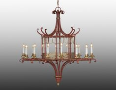 Style#LCFI-25-Metal chinoserie design sixteen light chandelier. Shown in custom distessed red and gold finish.
