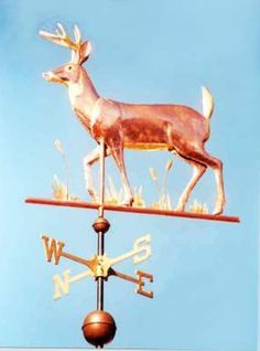 Deer Weather Vane, White Tail, Walking by West Coast Weather Vanes.  This White Tail Deer can be made using a variety of metals including copper and brass with optional gold or palladium leafing.