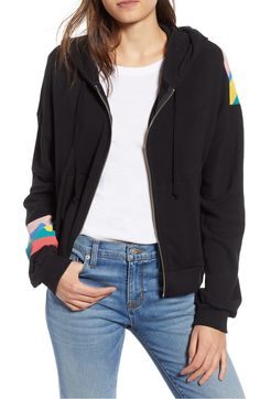 Free shipping and returns on Wildfox Spectrum Marquis Zip Hoodie at Nordstrom.com. Bring bright style to your off-duty days in this zip-front hoodie backed with bold diagonal rainbow stripes that continue the fun on one of the sleeves.