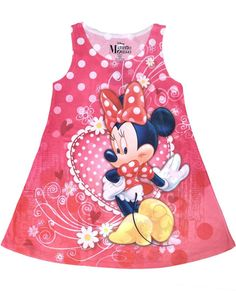 Disney Minnie Mouse Girls Tank Dress Polka Dot Flowers Pink