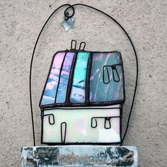 STAINED GLASS ART 'Little Blue House' Iridescent by mbGlassArt
