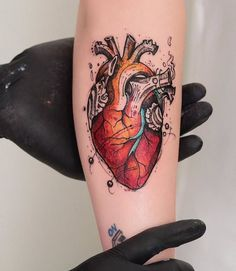 Skizzen - Colored Anatomical Heart Tattoo by Robson Carvalho - Kunst Skizzen - Colored Anatomical Heart Tattoo by Robson Carvalho - Head Tattoos, Foot Tattoos, Sleeve Tattoos, Trendy Tattoos, Tattoos For Guys, Tattoos For Women, Tattoo Designs, Design Tattoo, Flower Tattoo Foot
