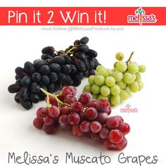 July 2014 - Pin It to Win It item: Melissa's Muscato Grapes     ----    Melissa's Muscato grapes vary in color from green and red to black and are cross hybrids of really sweet grape varieties. They provide a perfect summer snack with their crisp texture and mouthwatering, sweet and juicy interior. Muscato Grapes are much sweeter than the average grape, measuring at a brix (sweetness) level of at least 22 compared to the average grape brix of 16.  #pinittowinit