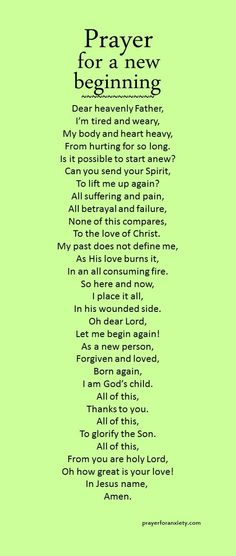 Prayer for a new beginning.  Mildred Williams