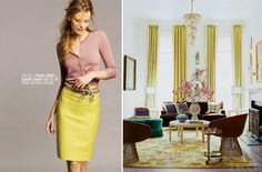 love love love that shade of yellow and pairing it with the dirty pink! just lovely!