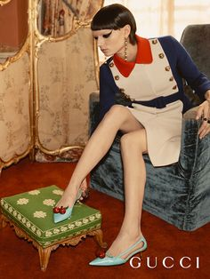 New pumps in the Gucci Cruise 17 campaign captured in Chatsworth House—featuring cherry embellishments and bamboo heels, worn with a wool A-line belted coat with feline head hardware. Vogue Editorial, Editorial Fashion, Patent Leather Pumps, Leather Flats, The New Classic, Aqua, Chatsworth House, Alessandro Michele, Buy Gucci