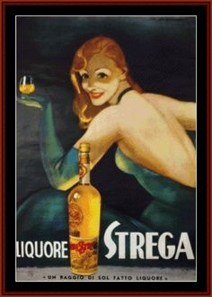 VP-74 - Liquore Strega - All cross stitch patterns - NEW - Food and Drink - Posters - Vintage Posters - Cross Stitch Collectibles