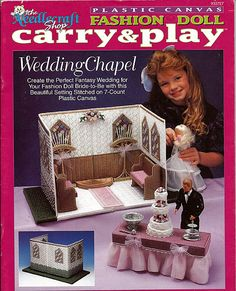 Llevar la muñeca de la manera y jugar capilla para bodas lienzo plástico Barbie patrón de la tienda de bordados 933727