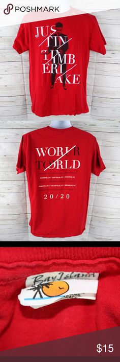 """Justin Timberlake 20/20 World Tour T-Shirt Red Justin Timberlake Authentic Tour T-Shirt for his 20/20 World Tour! In Great Shape and very lightly worn. Detailed Measurements are Sleeves: 8"""" inches - Underarms: 20"""" inches - Length: 28"""" inches. Ships from a clean and smoke free environment in 1 business day or less. Please shop with confidence. 5 Star Reviews & Fast Shipping Times. Any questions please feel free to ask. Thanks! Bay Island Sportswear Tops Tees - Short Sleeve"""