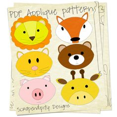 Animal Applique Quilt Pattern - 6 Pack Bundle - Clothing Applique, Quilt, Scrapbook. $7.50, via Etsy.