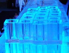 """Ice """"glasses"""" await drinks at the Absolut Ice Bar in Stockholm, Sweden."""