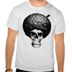 Afro Skull T-shirt. Retro Skull from the sixties and seventies with an old school 70's Afro