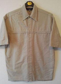 Berghaus Mens Shirt Outdoor Workwear Thick Cotton Button Up Pocket Beige Size S