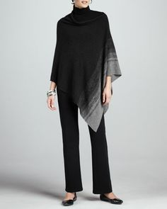 Ombre-Striped Poncho, Scrunch-Neck Long-Sleeve Top & Heavyweight Knit Modern Straight-Leg Pants by Eileen Fisher at Neiman Marcus.
