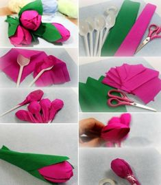 Making tulips - An idea made from plastic spoons and crepe paper .- Tulpen basteln – Eine Idee aus Plastiklöffeln und Krepppapier Making tulips – An idea made of plastic spoons and crepe paper - Pop Stick Craft, Craft Stick Crafts, Crafts For Kids, Diy Crafts, Candy Flowers, Paper Flowers Diy, Diy Paper, Easter Art, Easter Crafts