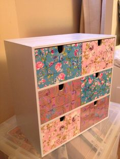Ikea drawers covered in decopatch paper and painted duck egg blue what a transformation! We love it