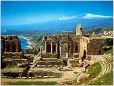 Taormina, Sicily with Mt. Etna in the background.