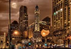 Chicago Water Tower - HDR at night by Mister Joe, via Flickr