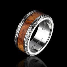 Koa Wood & Titanium Ring.