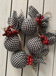 Your place to buy and sell all things handmade Farmhouse Christmas Ornaments, Christmas Tree Garland, Country Christmas Decorations, Christmas Ornaments To Make, Rustic Christmas, Christmas Diy, Christmas Bulbs, Buffalo Plaid Christmas Ornaments, Buffalo Check Christmas Decor