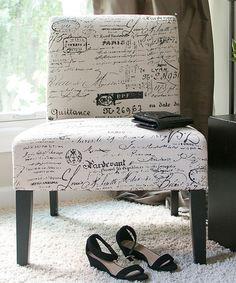 Another great find on #zulily! Beige Manuscript Accent Chair #zulilyfinds