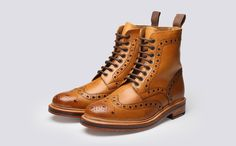 Mens Brogue Boot in Tan Calf Leather with a Leather Sole | Fred | Grenson Shoes - Three Quarter View