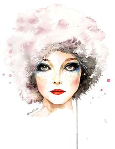 Watercolor Fashion Illustration  60s Fashion Model от sookimstudio
