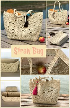 The most adorable and my favorite Straw bag!  You are ready to beach?  #strawbag #raffiabag #strawbasket #basketbag #beachbag, #moroccanbasket, #strawtotebag, #frenchmarketbasket #summerbag Net Bag, Market Baskets, Straw Tote, Basket Bag, Summer Bags, Handmade Bags, Embroidery, Boho, Sewing