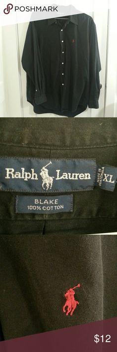 Ralph Lauren Blake 100% Cotton Black Button Up XL This is a Ralph Lauren Blake button up shirt in size XL. 100% cotton. Great condition. No defects as far as I could see. Ralph Lauren Shirts Casual Button Down Shirts