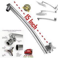 Arm Shower Curve Oval Adjustable Polished Chrome Stainless Steel Bathroom 15 Inc #Aquagenix