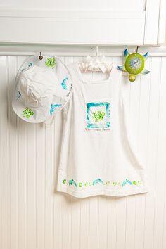 Kauai Hawaii Handpainted Girl's Cotton Bib Dress by PetrinaBlakely, $20.00
