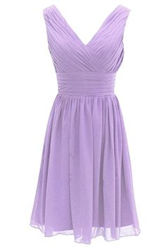 Grace Lee Short V-Neck Prom Dress Chiffon Bridesmaid Dress Lavender US6