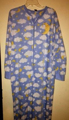 b24181cd689 Womens Onsie Footed Soft Fleecy Pajamas Plus Size XXL 20 Blue White Moon  Cloud