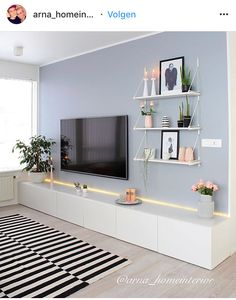 80 Amazing Living Room TV Wall Decor Ideas And Remodel - Wohnzimmer Living Room Tv, Living Room Interior, Home And Living, Tv On Wall Ideas Living Room, Living Room Set Ups, Tv On The Wall Ideas, Shelving In Living Room, Living Room Picture Ideas, Living Room Ideas On A Budget