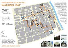 Khmer Architecture Tours - modern architecture in Cambodia by walking map, bus or cyclo Walking Map, Walking Tour, Battambang, The Kat, Free Maps, Urban Architecture, International Style, Phnom Penh, Map Design