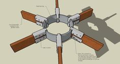 Steel Pipe and PVC Hub Connectors This is the classic way to connect geodesic struts together. Bamboo Light, Shelter Design, Future Buildings, Wood Joinery, Dome House, Geodesic Dome, Organic Architecture, Earthship, Round House