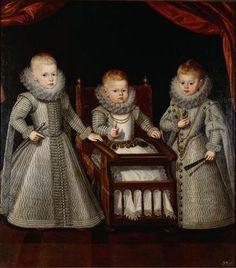 The three youngest children of Felipe III of Spain: Ferdinando of Spain (1609-1641), Margarita Francisca of Spain (1610-1617) and Alfonso Mauricio of Spain (1611-1612)
