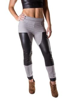 Goodtime Women's Faux Leather And French Terry Contrast Jogger Pant