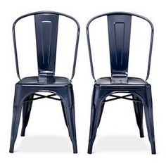 "Target - Carlisle High Back Metal Dining Chair - Navy, Metal, and Gray. Set of 2 - $89.99 on sale.  34""H x 17 1/2""W x 21""D."