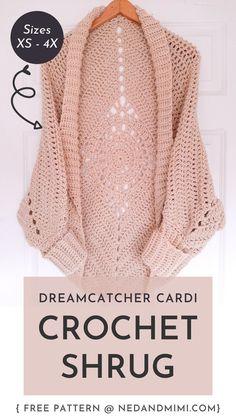Crochet Cardigan Pattern, Crochet Jacket, Crochet Patterns, Pull Crochet, Diy Crochet, All Free Crochet, Crotchet, Crochet Capas, Crochet Video